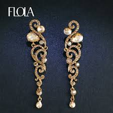 earrings gold flola new luxury gold earrings angel wings cz austrian