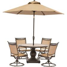 Cheap Patio Dining Set With Umbrella by Hanover Fontana 5 Piece Aluminum Round Outdoor Dining Set With