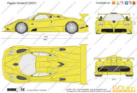 pagani zonda side view the blueprints com vector drawing pagani zonda r
