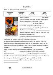 english worksheets heat transfer cloze activity