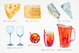 watercolor cocktail watercolor wine set by font bundles sto design bundles