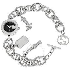 black bracelet with charm images Gucci 107 black steel charm ladies bracelet watch ya107503 gucci jpg