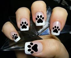48 paw prints nail decals paw kitten puppy dog paws black