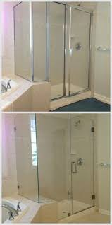 framess glass shower door that opens and closes with fixed panel