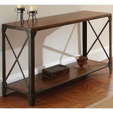 Metal Entry Table Brown Solid Wood Iron Sofa Table