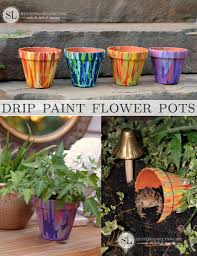 drip paint flower pots terra cotta toad house kids craft