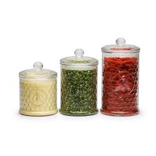 colorful yellow green and red clear glass modern kitchen canister