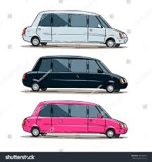 pink and black cars cartoon limousine white limo black limo stock vector 489546553