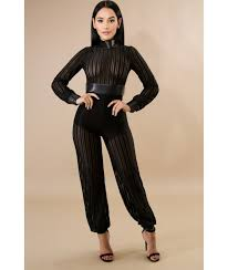 black mesh jumpsuit meshing with stripes jumpsuit luxe aloure