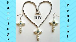 beaded cross necklace images Beaded cross earrings and pendant jewelry making tutorial jpg