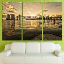 direct selling home decor direct selling 3 panels canvas art cityscape bridge water home decor