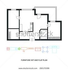 Floor Plans With Furniture Vector Illustration Black White Floor Architect Stock Vector