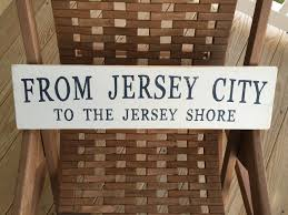from jersey city to the jersey shore hand painted beach sign