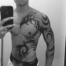 collection of 25 black and white tribal on chest and sleeve