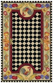 Rooster Runner Rug Contemporary Made Novelty Rug With Black And White Checkered