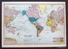 Antique World Map by World And Poles Vintage Maps