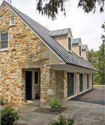 rustic metal roofing garage traditional with stone column three