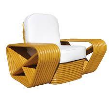 vintage mid century paul frankl style rattan pretzel lounge chair