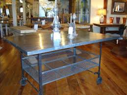 industrial kitchen table or island metal iron wheels 220943371