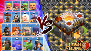 clash of clans all troops clash of clans all troops vs town hall 11 insane 3 star attack