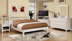 White And Wood Bedroom Furniture Amazon Com Furniture Of America Vaughn Mission Style Platform Bed