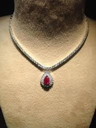 necklace ruby images Classic ruby necklace with diamond pointer neckline sku 15 jewelove jpg