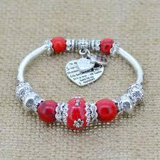 glass bead bracelet charms images Fashion silver plated jewelry love heart charm bracelets bangles jpg