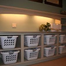 Laundry Room Basket Storage Laundry Basket Shelf With Wicker Baskets Or Add Doors