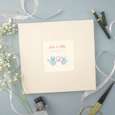 personalised wedding guest book personalised wedding cloth bound guest book with two doves