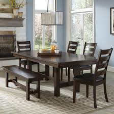 Dining Benches With Backs Upholstered Dining Set With Ladder Back Chairs And Backless Bench By Intercon