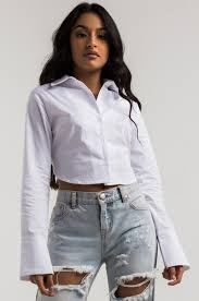 open blouse open back sleeve button shirt in white