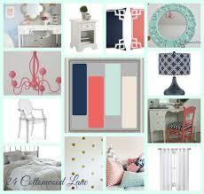 coral navy mint and gold pops in a white bedroom diy home