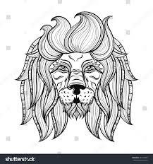 tattoo design lion vector ornamental lion ethnic patterned head stock vector