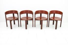 vintage italian leather u0026 walnut dining room chairs by cassina