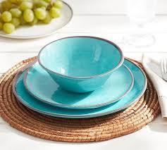 turquoise swirl melamine dinnerware teal decor