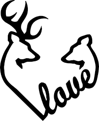 deer heads heart fills with love hunting decals fishing decals