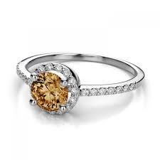 citrine engagement rings halo diamond and 5mm citrine gemstone ring in 14k white gold