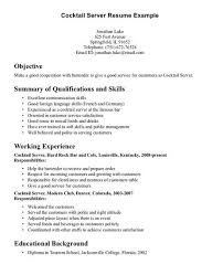 exles of resume objectives cocktail server resume objective http getresumetemplate info