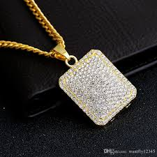 hip hop style necklace images Wholesale 2017 new fashion square pendant sparkling diamond 18k jpg