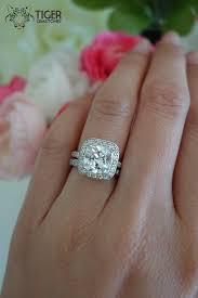 Cushion Cut Halo Diamond Engagement Ring In Platinum 2 25 Carat Cushion Cut Halo Wedding Set Half By Tigergemstones