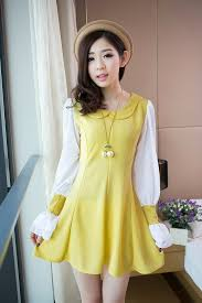 girls clothing wholesale new designe 2014 dress e8239 yellow