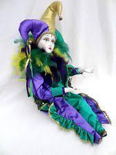 mardi gras doll pierrot harlequin jester ceramic plush doll 12 purple mardi gras