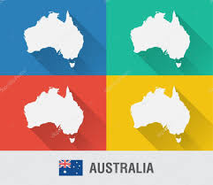 World Map Flat by Australia World Map In Flat Style With 4 Colors U2014 Stock Vector