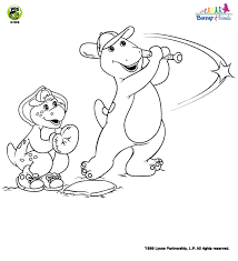 barney baby bop bj coloring pages