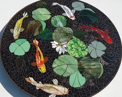Koi Outdoor Rug Mosaic Table Koi Fish Art Stained Glass Mosaic Art
