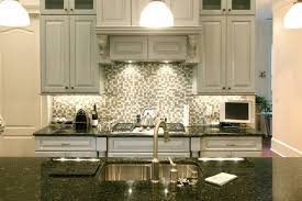 country style white kitchen design with grey subway tile