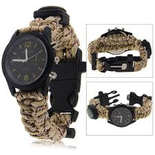 survival bracelet whistle images Survival bracelet with watch compass flint fire starter scraper jpg