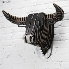 wooden animal wall 3d wood puzzle diy model wall hanging creative wooden animal