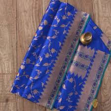 Buy Royal Blue Pure Silk Royal Blue Pure Katan Silk Banarasi Handloom Saree Tilfi