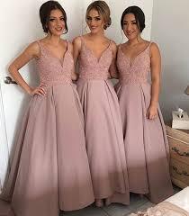 bridesmaids dress v neck blush pink bridesmaids dress beading bodice satin prom dress